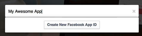 Create new Facebook app ID