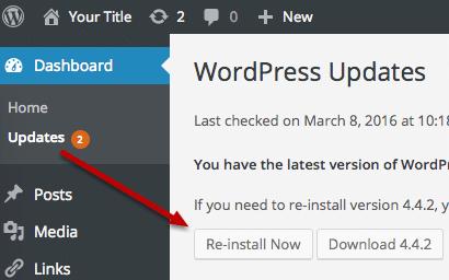 نصب مجدد فایل های وردپرس و پایگاه داده