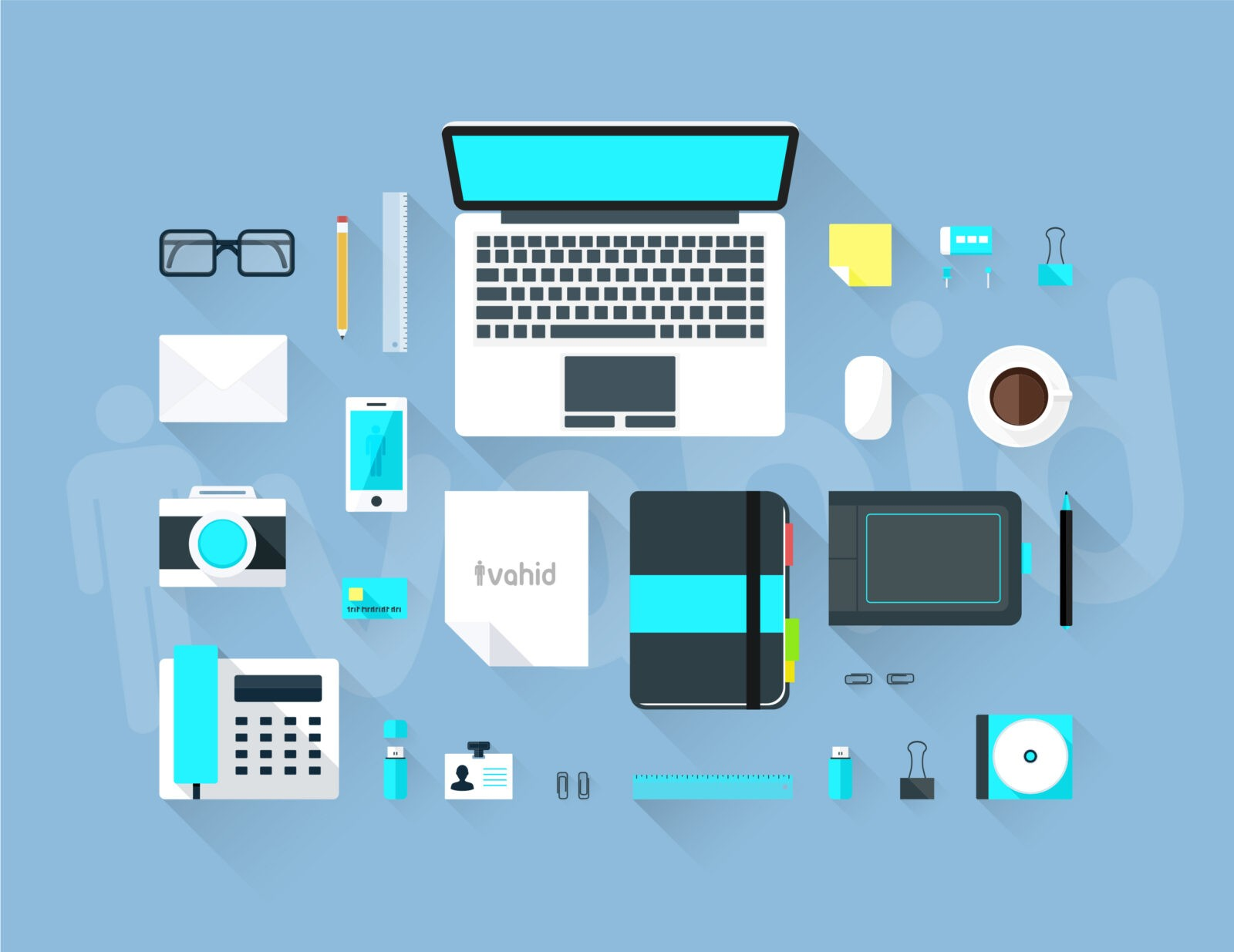 Flat Workspace طرح لایه باز میز کار طراحان