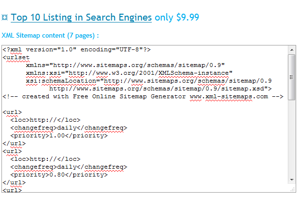 کپی کردن کد سایت مپ ایجاد شده در xml-sitemaps.com