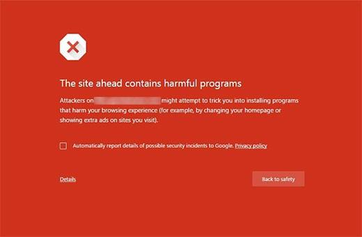 حل مشکل اخطار کد مخرب گوگل هنگام ورود سایت