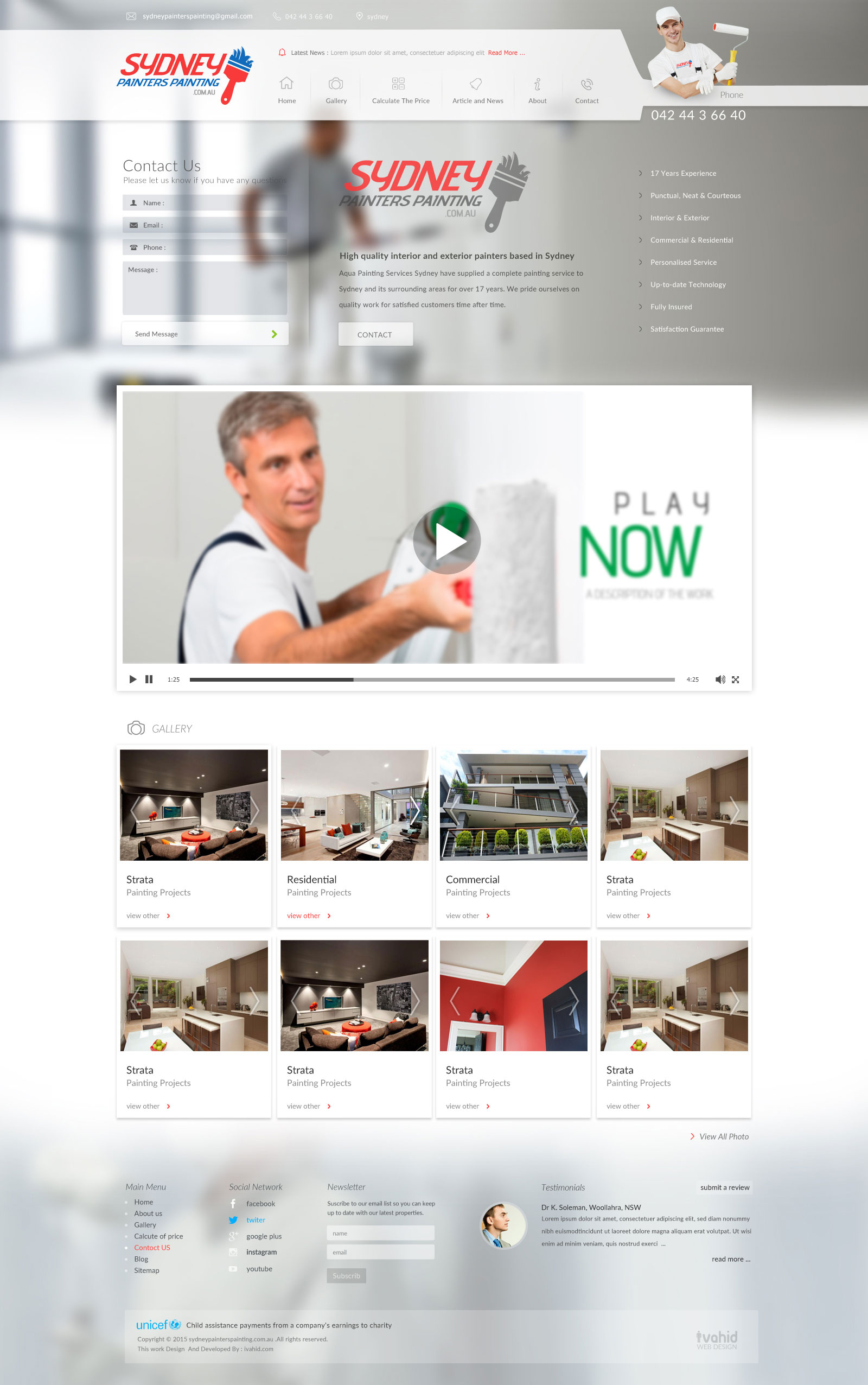 طراحی وب سایت شرکتی Sydney Painters Painting