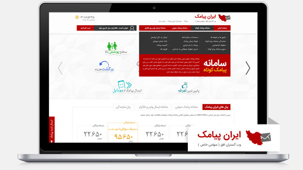 طراحی وب سایت ارائه خدمات پیامک
