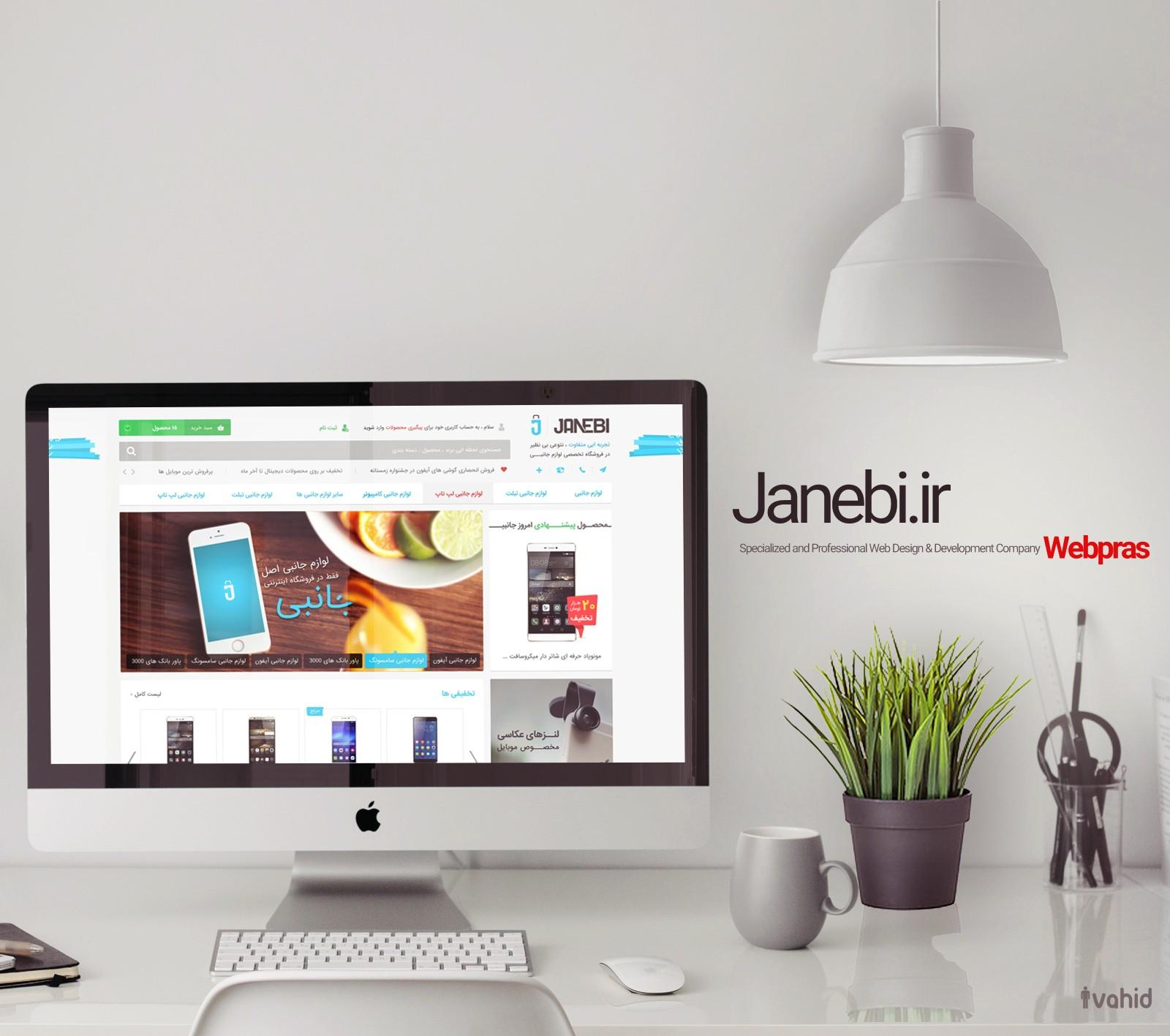 نهایت رنگ بندی در نمونه طراحی گرافیک فروشگاه اینترنتی جانبی