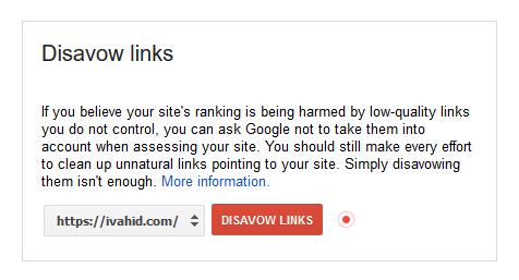 بخش افزودن دامین در Disavow Links گوگل