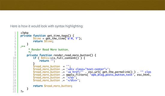 نمایش آسان کد در بلاگ