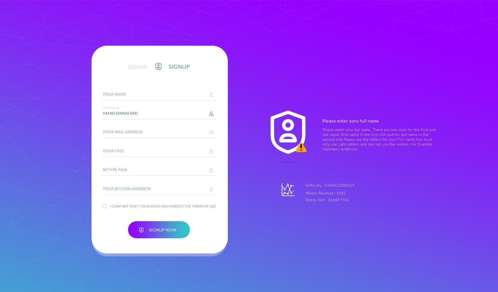 طراحی رابط کاربری وب سایت معاملات ارز دیجیتال