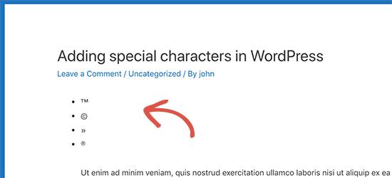 آموزش افزودن کاراکترهای خاص درون نوشته وردپرس
