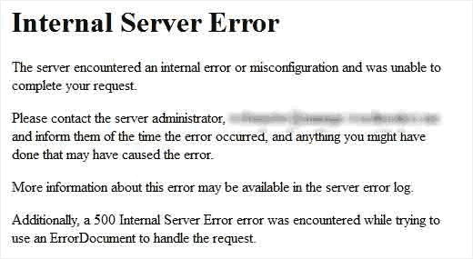 رفع خطای internal server error